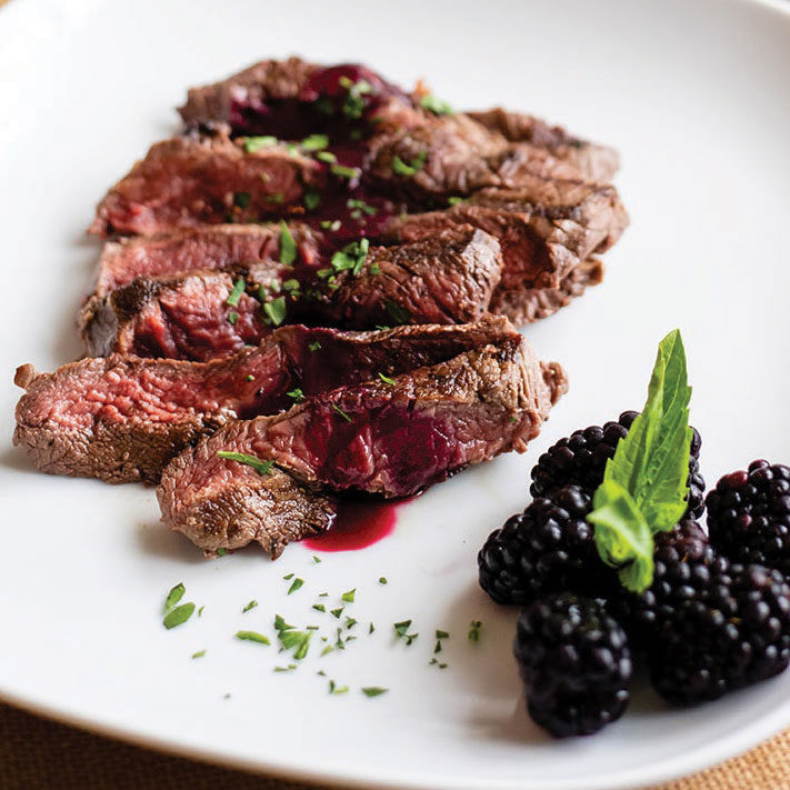Grilled Elk Steaks with Blackberry-Shiraz Sauce