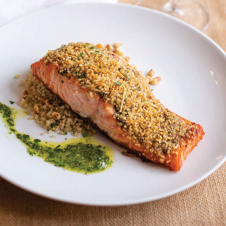 Pesto-Parmesan Crusted Salmon over Toasted Pine-Nut Quinoa